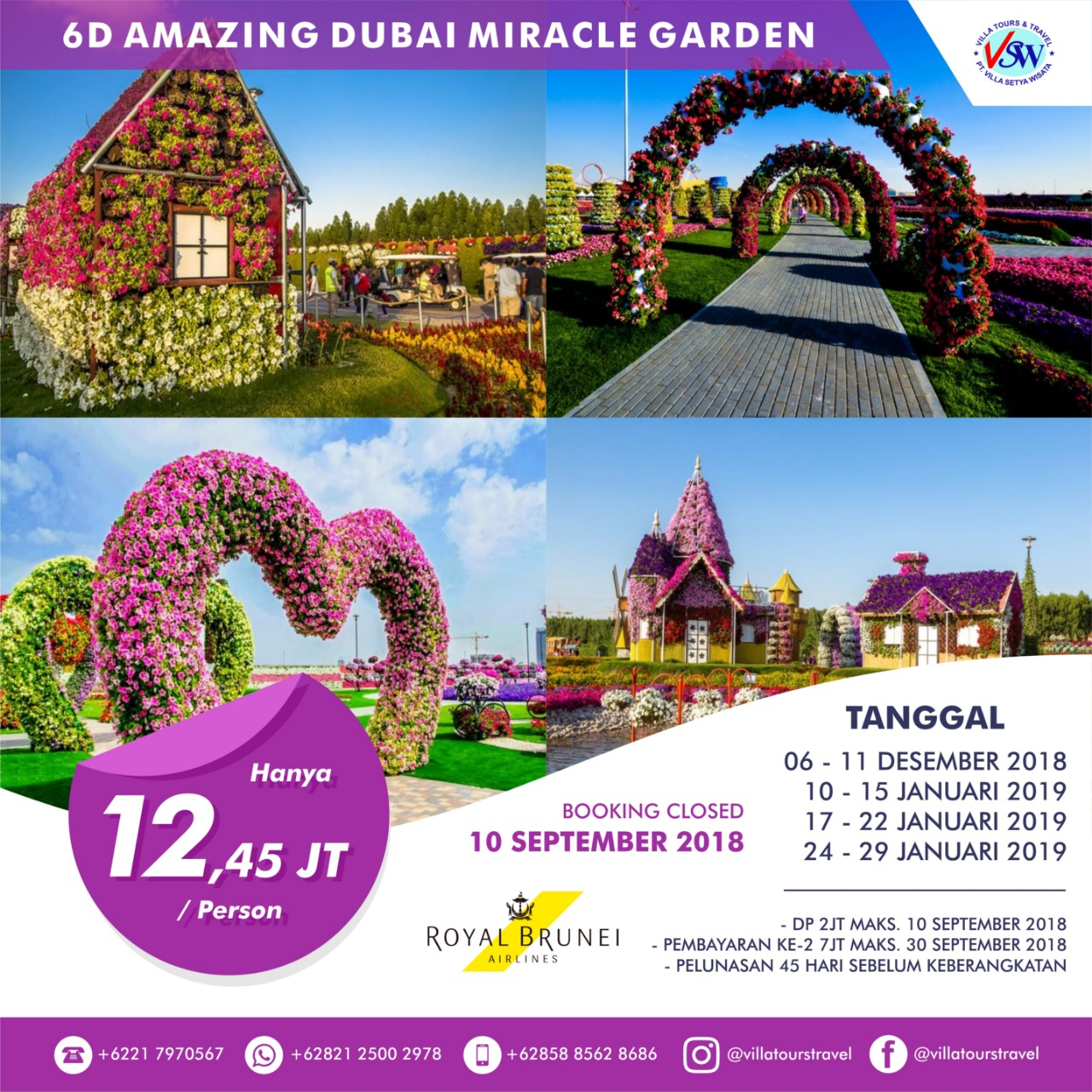 6D Amazing Dubai Miracle Garden Plus Abudhabi & Brunei City Tour